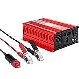 Spannungswandler DC 12V auf AC 230V, 200W Auto Wechselrichter mit 1 USB Anschluss und Euro Steckdose und UK Steckdose, Autoladegerät Inklusive Kfz Zigarettenanzünder Stecker und Batterieclip (200W)