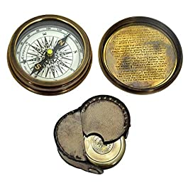 "Pocket Compass ""Robert Frost Poem"" equipped with leather case"