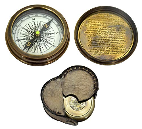 compass, poem by Robert Frost engraved in the lid, with leather case ()