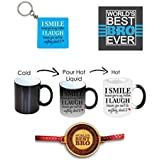 Yaya Cafe New Year Birthday Gifts For Brother Combo, Funny Teasing Brother Mug, Coaster, Keychain Set Of 3