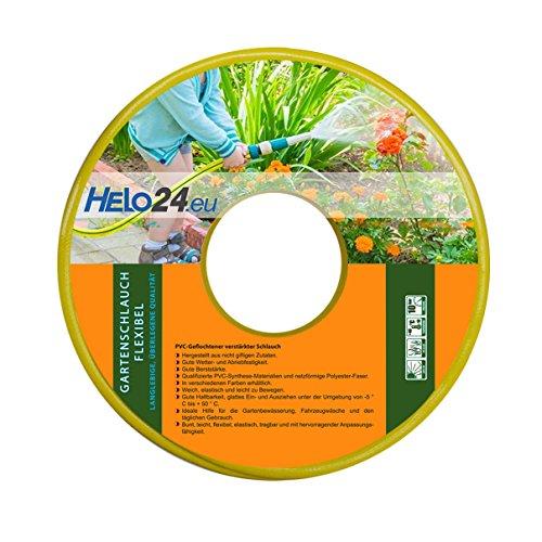 """Helo Gartenschlauch 30 m (3/4"""" Zoll) gelb, verstärkter 3-Schichten Wasserschlauch aus flexiblen PVC mit netzförmiger Polyester Faser, 10 Bar Berstdruck, elastisch weich und leicht zu bewegen"""