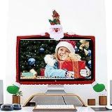 AVEKI - Copertura Decorativa per Monitor del Computer Portatile, Antipolvere, Protezione per Schermo per Computer, TV, Natale, Anno, casa, Ufficio Babbo Natale