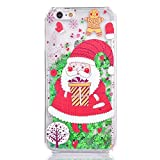 Cover iPhone SE/5/5S KSHOP plastica PC hard cover con Natale design a tema Bling bling Anti-graffio Resistente Custodia iPhone SE/5/5S Cover - Stelle verdi, Buon Natale, Babbo Natale, Regali di Natale