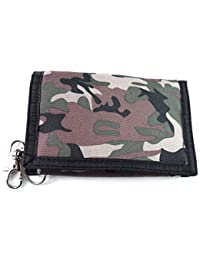 Mens Boys Ladies Camouflage Canvas Wallet Purse Coin Pouch Credit Card Holder with Chain