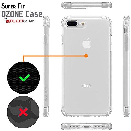Coque iPhone 8 Plus - TECHGEAR® iPhone 8 Plus, iPhone 7 Plus [Ozone Case] Coque Protective Anti-Choc en TPU avec Coins Renforcés et Touches Intégrées - Noir Fumée Ultra Claire