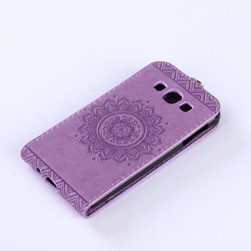 Samsung Galaxy A3 2015 Hülle Leder Tasche Flip Cover Galaxy A3 2015 Wallet Case Alfort Stilvoll Handycover Braun Mandala Blumen Muster PU Ledercase Brieftasche Handyhülle für Samsung Galaxy A3 (2015)  Lavendel