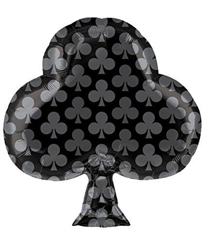 ekoration Folienballon - Spielkartenfarbe Kreuz - 1 Stück, 48 x 53cm, Schwarz (Halloween-frühstück Essen)