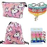 Doctor Unicorn Unicorn regali per ragazze 4pezzi–unicorno con coulisse zaino/borsa trucco/braccialetto/Rainbow elastici per capelli, Blue, One_Size