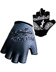 Panegy - Guantes de Ciclismo Deportivos Medios Dedos Fitness Antideslizantes Transpirable para Hombre Mujer - Talla XL - Azul