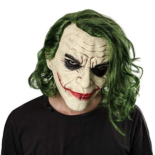 Einen Kostüm Machen Ball Sie - NUWIND Joker Maske mit Haare Latex Kopfmaske Vollmaske Horror Gesichtsmaske für Halloween Karneval Party Kostüm