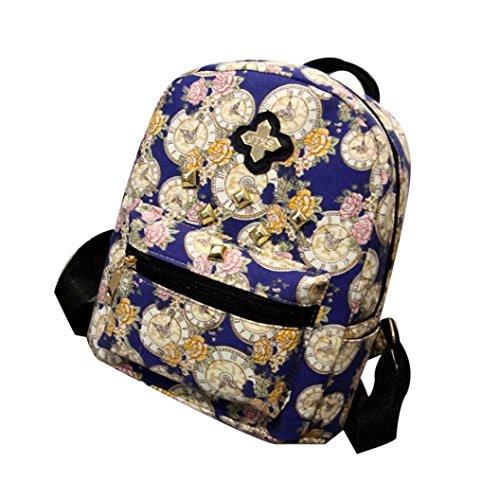 bescita Frauen Fashion Rucksack Uhr Blumen Leinwand Tasche, blau (Leinwand Knoten)