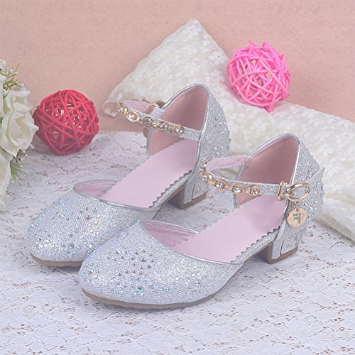 Zhhlinyuan Kids Filles Summer Princess Shoes Glitter Party Bridesmaids Low Heels silver