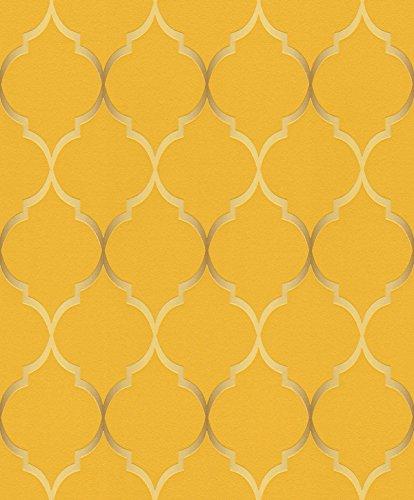 Rasch Vlies Tapete - Größe: 0,53 x 10,05 m - Farbe: orange, gold - Stil: Muster & Motive (modern)