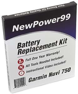 Kit de Remplacement de Batterie pour TomTom Go 750 Série (Go 750, Go 750 LIVE) GPS avec Vidéo d'Installation, Outils, et Batterie longue durée.
