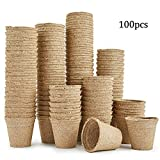 SIMUER Vasi Biodegradabili, 100 Vasi per Piantare Fibre per Piantine Piante Infermieristiche, 6CM