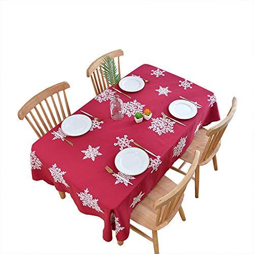 H-mmai 2remise tovaglia natalizia nuovo lino cotone rettangolare ricamato fiocco di neve modello tovaglia tavolino tovaglia tinta unita rosso 140 * 220
