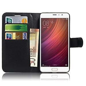 Xiaomi Redmi Note 4 Custodia , Anzhao Flip Custodia Portafoglio Protettiva Custodia in pelle per Xiaomi Redmi Note 4 (Nero)