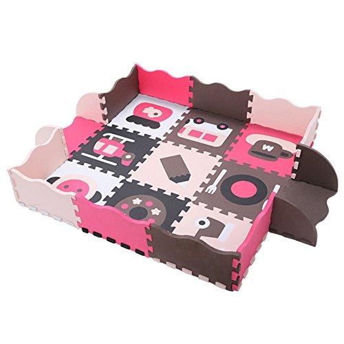 meiqicool Puzzle Interlocking Soft Kids Baby Eva Foam Activity Play Mat Floor Tiles caff/è e Beige 16 PCS 118 x 118 x 1cm