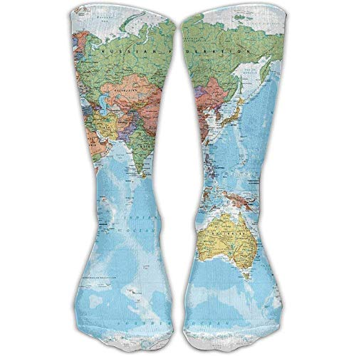 Wfispiy Men's World Map High Socks Shoe Size 6-10