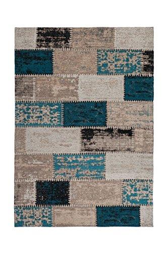 Teppich Wohnzimmer Carpet Patschwork Design Ballerina 770 Rug Geometrie Muster Polyester 160x230 cm Türkis/Teppiche günstig online kaufen