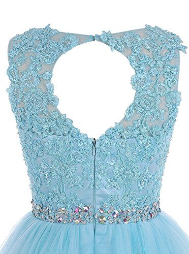 KekeHouse® Dentelle Robe De Bal Courte Mini Robe De Soirée En Organza Sans Manches Robe De Fête A-ligne Bleu Marine