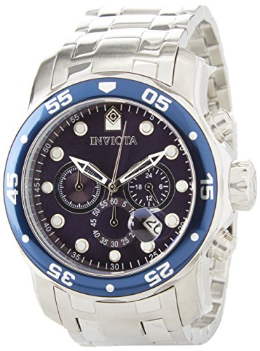 Invicta Men's Quartz Watch with Blue Dial Chronograph Display and Silver Stainless Steel Bracelet 0070