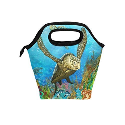 hunihuni Coral Reef Schildkröte Isolierte Thermo Lunch Kühltasche Tote Bento Box Handtasche Lunchbox mit Reißverschluss für Schule Büro Picknick