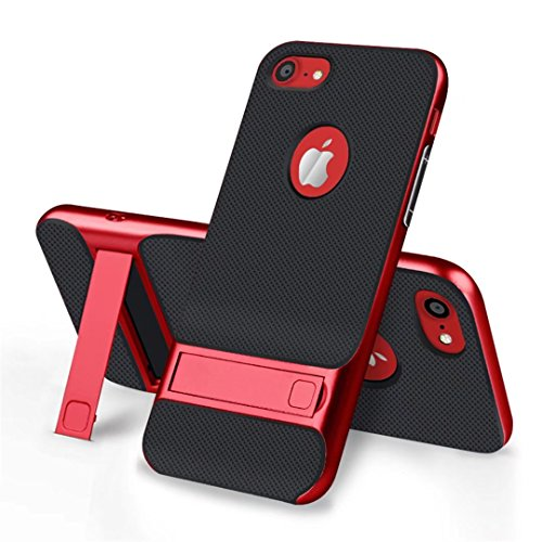 cover iPhone 7 morbido silicone Guscio Anti-drop Paraurti duro del PC pesante griglia Anti-impronta digitale supporto Custodia -Trasparente + grigio Griglia + rosso