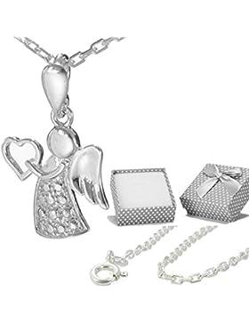 Engel Herz Anhänger mit Kinderkette Ankerkette 40cm aus echt 925 Silber Schutzengel Kinder Set #af24