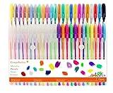 Farbige Gelschreiber Gelstifte Set, inkl. Metallic, Pastellfarben, Neon, Glitzer für Erwachsenen-Malbücher Scrapbooking, färben, etwas Kritzeln, skizzieren und Craft, Pack von 48 Gelroller mit 1,0mm Spitze