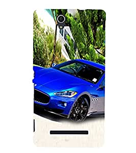Luxury Blue Car 3D Hard Polycarbonate Designer Back Case Cover for Sony Xperia C3 Dual :: Sony Xperia C3 Dual D2502