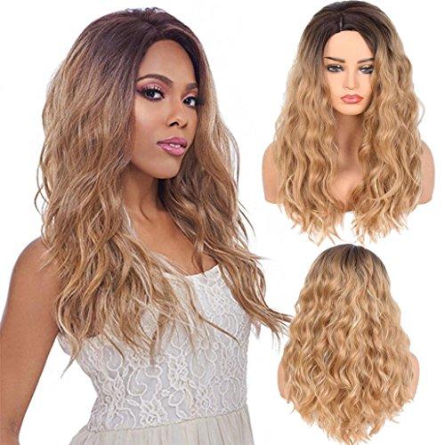 Perruque Femme Longue Bouclée Mode Lady Big Wave Gradation Doré Perruques sia Cheveux Bouclés Madame longue blonde deguisement pas cher