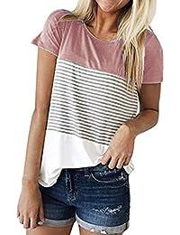 Cinnamou Camiseta para Mujer, Verano Camisetas Cortas Manga Corta Mujer Bordado de Rosas Camisas de Mujer Camisas Casual Blusas Tops T-Shirt 2018 Oferta