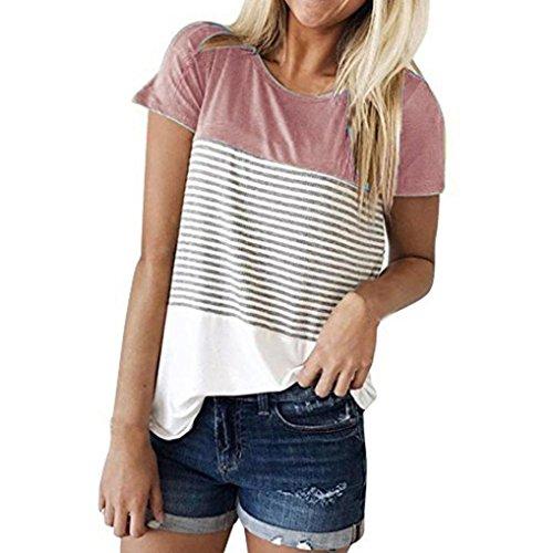 Cinnamou Camiseta Para Mujer, Verano Camisetas Cortas Manga Corta Mujer Bordado de Rosas Camisas de Mujer Camisas Casual Blusas Tops T-Shirt 2018 Oferta (Rosa, L)