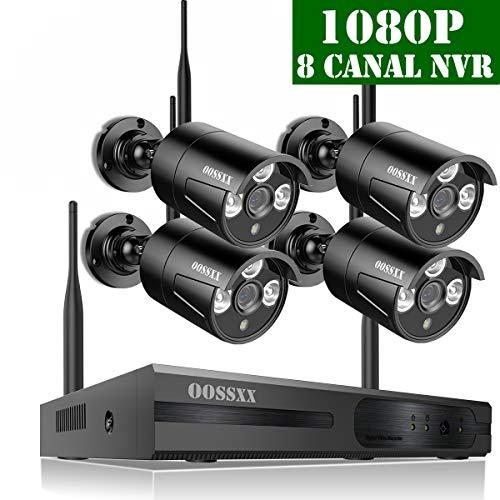 【2019 Neu】Wlan Überwachungskamera System, Outdoor Videoüberwachung System Kabellos Set CCTV 8 Kanal 1080P NVR Mit 4 1080P Innen/Außen Outdoor Alarm Überwachungskamera mit Aufzeichnung, Nein Festplatte -