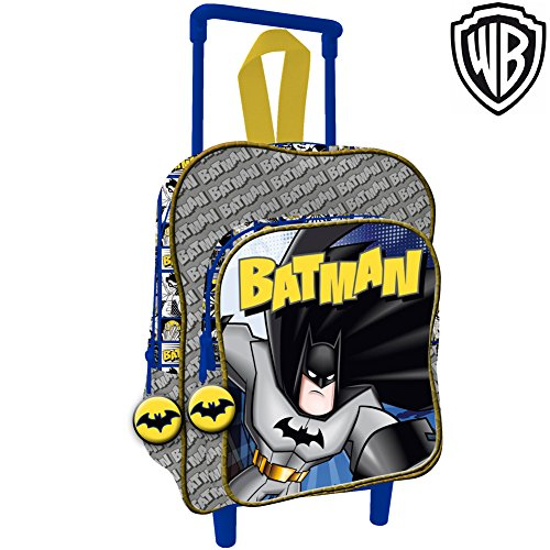 Bakaji Zaino Trolley Batman Warner Bros Originale Asilo Scuola Bambini Viaggi Altezza 30 cm