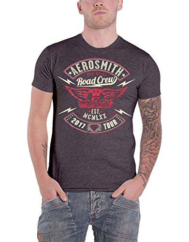 Aerosmith T Shirt Road Crew Euro tour 2017 nuevo Oficial de los hombres Gris