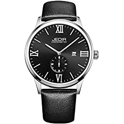 Jedir Fashion Leather Strap Quartz Men Wrist Watch with Calendar