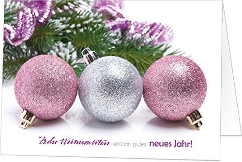 100 Exklusive Weihnachtskarten (Klappkarten) mit Umschlag, perfekt für Stilvolle Grüße an Firmen-Kunden, Geschäfts-partner, TEAM-Kollegen