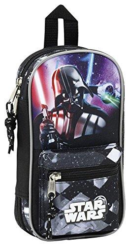 Star Wars Plumier Mochila con 4 portatodos llenos (SAFTA 411701747), Color Negro, 23 cm