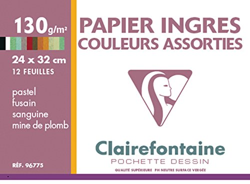 Clairefontaine 96775C Mappe Pastell Zeichenpapier (ideal für Kreide und Kohle, 130 g, 24 x 32 cm, 12 Bögen, intensive Farben) sortiert
