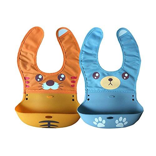 Webeauty® Set di 2 - morbida impermeabile in silicone Bavaglino per i più piccoli bambini con Pocket Pettorali