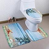 A-goo Flanell 3-teiliges Badezimmer Teppich Ständer Deckel WC-Deckelbezug Badematte Set