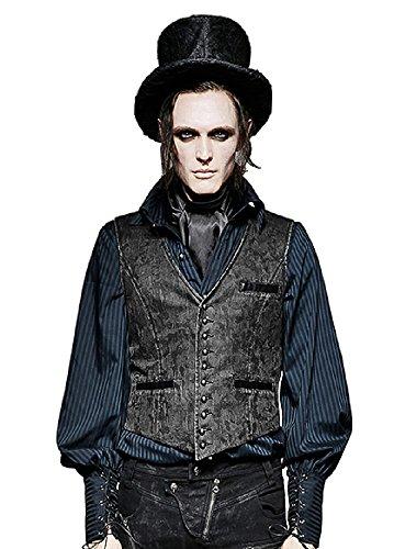 shoperama Herren-Weste Kunstleder Punk Rave Y-718 Steampunk Gothic Vintage Pirat Cowboy Hutmacher Mad Hatter, Größe:XL