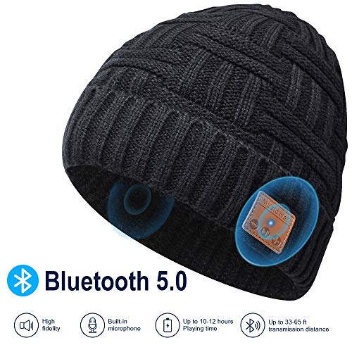 EVERSEE Bonnet Bluetooth Cadeau de Noël - Unisexe Music Bonnet Bluetooth Cadeaux Hommes Original, Doux Chaleureux Bluetooth Musique Bonnet d'hiver Cadeau de Noël, Couple ou Anniversa