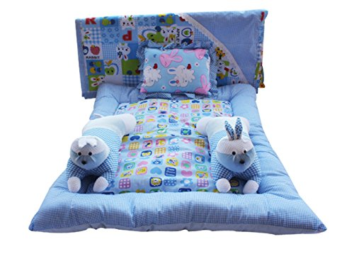 Safe N Cute Baby Rabbit Full Sleeping Set With Sheet (Sky Blue)0 - 30 Months Or 2.5 Years