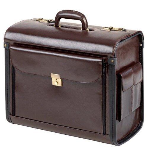 Excl. PILOTENKOFFER ECHT LEDER braun groß mit Fächervortasche und Seitentaschen NEU 28009