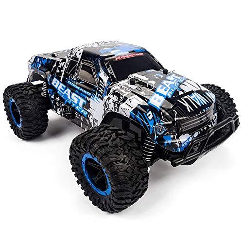 Pinjeer professionale rc auto 1:16 suv ad alta velocità rock rover doppi motori auto big foot telecomando radio controlled off road car toys per bambini 6+ (color : blue)