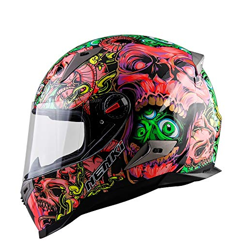 ZHYY Casco Moto da Motociclista Full Face D.O.T & ECE 22.05 Approvato Casco da Cross Casco da Pedale da Discesa off-Road Racing Ghost Head Pink Style (M, L, XL, XXL),M