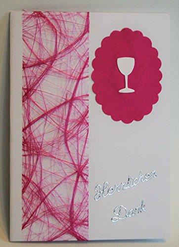 10 x Dankeskarten Kommunion Konfirmation DK018 in verschiedenen Farben (pink)